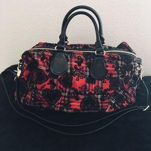 Betsey Johnson Red and Black Plaid skull bag